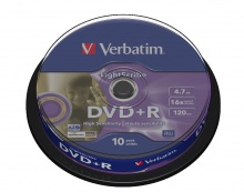 Verbatim DVD+R LightScribe 4,7GB cake 10 ks